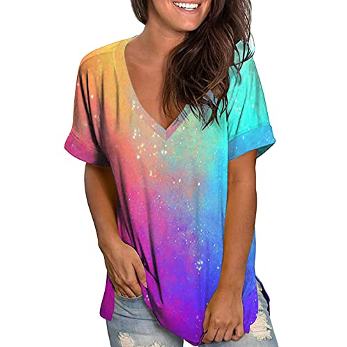 Oversized T Shirt Damen Kurzarm Oberteile Farbverlauf Tie Dye Aufdruck V-Ausschnitt Sommer T-Shirt Frauen Oberteil Kurzarmshirt Tunika Top Bluse Hemd Sweatshirt Pullover
