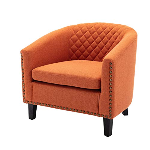 Barrel Accent Chair with Arms Linen Fabric Club Chairs Bucket Chair Upholstered Tub Chair for Living Room Bedroom (Orange)