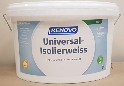 RENOVO 5 Liter Isolierweiss gegen Nikotin. Ruß- und abgetrocknete Wasserflecken