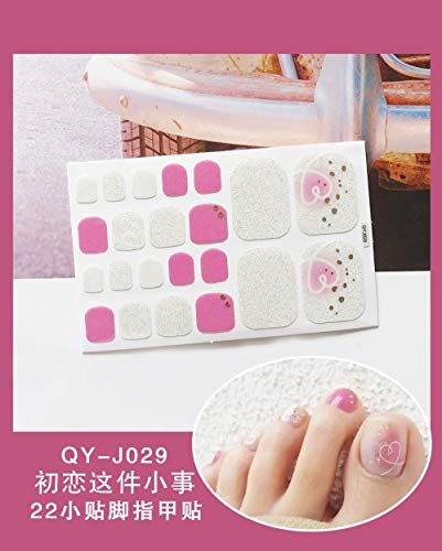 BGPOM Foot Stickers Nail Stickers Nail Stickers Fully Waterproof Lasting 3D Toenail Stickers Patch 10 Sheets/Set,First Love (QY-J029)