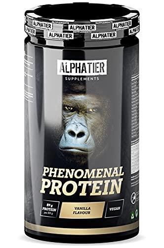 Eiweißpulver mit BCAA und EAA - Vanille 1300g - Eiweiß Pulver mit 88% Protein - Alphatier Phenomenal Proteinpulver - Sojaproteinisolat mit Aminosäuren - glutenfrei + laktosefrei