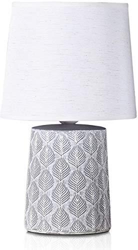 BRUBAKER Tischlampe Nachttischlampe - 33 cm - Grau - Keramik Lampenfuß - Blatt Ornamente - Leinen Schirm Weiß