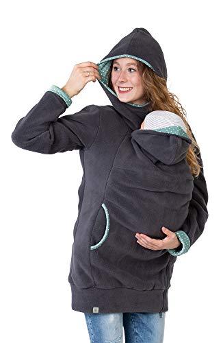 Viva la Mama Umstandsmode Fleecetragejacke Jacke Mama Baby tragen Jacke mit Einsatz warm Tragehoodie Kapuzenpullover - AHOI grau Mint Punkte - XL