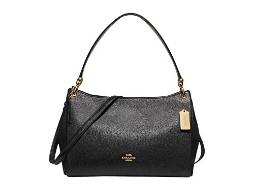 COACH Pebbled Leather Mia Shoulder Bag Black One Size