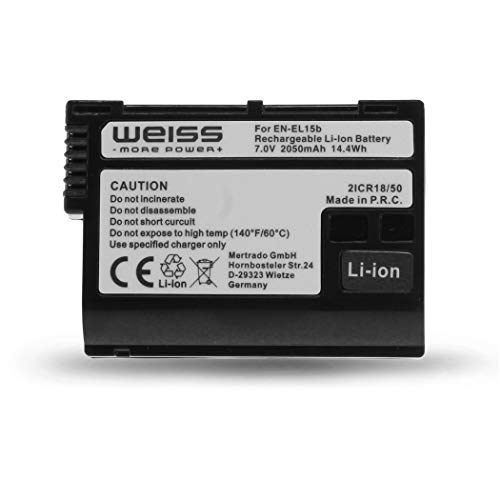 Weiss - More Power + Akku für Nikon EN-EL15b Li-Ion 2050mAh kompatibel mit Nikon Z6 | Nikon Z7 | Nikon D7200 [abwärtskompatibel mit Nikon EN-EL15a & Nikon EN-EL15]