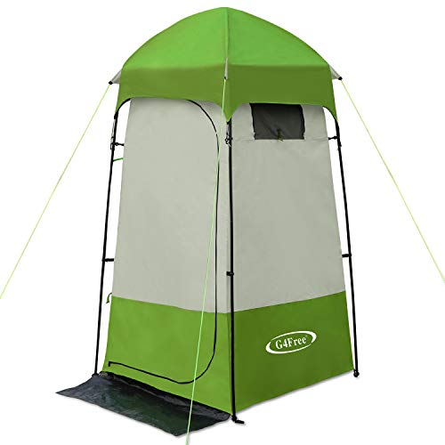 G4Free Camping Shower Tent, Privacy Tent Dressing Changing Room, Portable Toilet, Rain Shelter for Camping Beach with Carry Bag (Green)