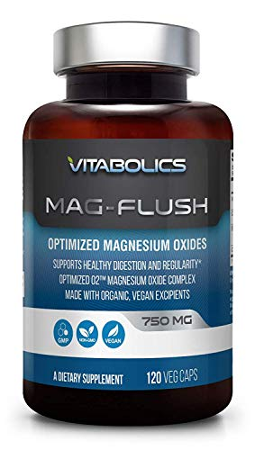 Mag Flush 750 mg 120 Vcaps - Natural Magnesium Oxide | Gentle Laxative | Healthy Digestive Tract | Regularity Formula | Oxygen Based Colon Cleanse