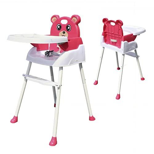Seggiolone 4 in 1 per bambini, pieghevole, con cintura e vassoio (rosa)