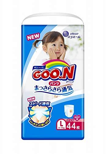 GOO.N Baby Windelhöschen für Mädchen Größe L (9-14 kg) 44 Stück Premium Qualität Made in Japan