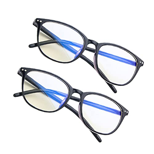 HEALLILY 2 Piezas Gafas de Bloqueo de Luz Azul Marco Gafas de Ordenador Antifatiga Gafas de Lectura Lisas Gafas de Juego para Mujeres Y Hombres