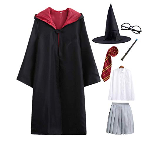 Ramonala Bambini Adulto Harry Costume Unisex all-King Film Robe Mantello Costume Cosplay Bacchetta Magica Occhiali Camicia Cravatta Gonna Carnevale Travestimento Halloween Costume da Festa di Natale