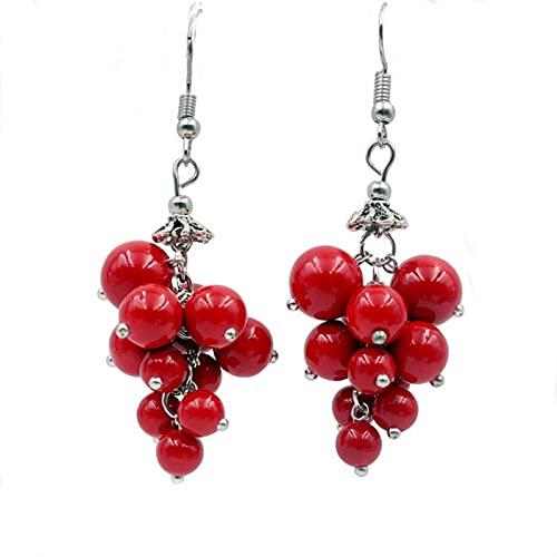 DFGDFG Pendientes Estilo Tibetano joyería de UVA Garganta Pendientes joyería Estilo étnico Perlas Rojo Regalo Femenino (Main Stone Color : A Red)