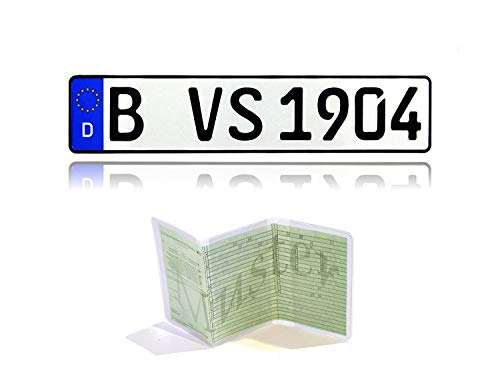 VooSale 1 DIN zertifiziertes Eurokennzeichen in der Standard-Größe 520mm x 110mm mit ihrer Wunschprägung in Top Qualität inklusive Einer Fahrzeugscheinhülle