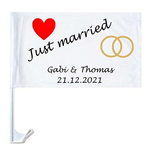 Autofahne Hochzeit mit Namen personalisiert Autoflagge Wunschname Heirat Just Married 4