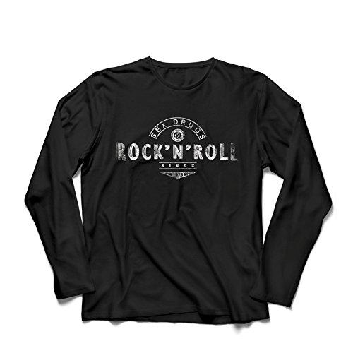 lepni.me Camiseta de Manga Larga para Hombre Sex Drugs and Rock and Roll - 1960s, 1970s, 1980s - Banda de Rock Vintage - Musicalmente - Ropa de Concierto (XX-Large Negro Multicolor)