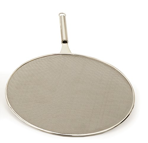 """RSVP International SPLAT-13 Splatter Screen, One Size - Fine Mesh Stainless Steel, 13"""" in Diameter with 6.25"""" Handle  Keeps its Shape & Construction Over Time   Dishwasher Safe, 13 Inch, Multi Color"""