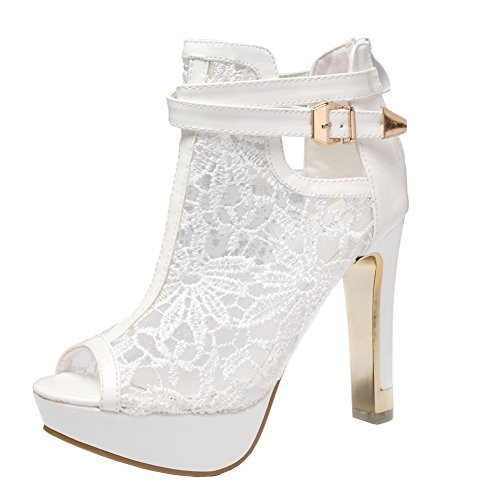 getmorebeauty Women's White Pretty Lace Flowers Open Toes High Heels Ankle Boots 9 US