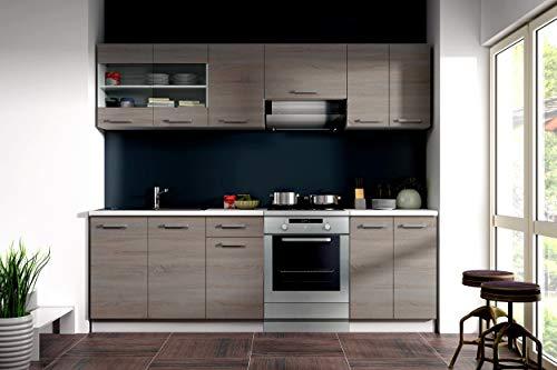 Küche Dave 240 cm Küchenzeile/Küchenblock variabel stellbar in Eiche Sonoma Trüffel