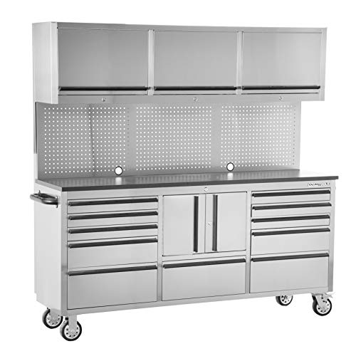 OEM Tools OEMTOOLS OEM24615 72 Inch 11-Drawer Upper Cabinet, Work Surface, Pegboard, Mechanics' Rolling Chest, Large Tool Box, Garage Workbench