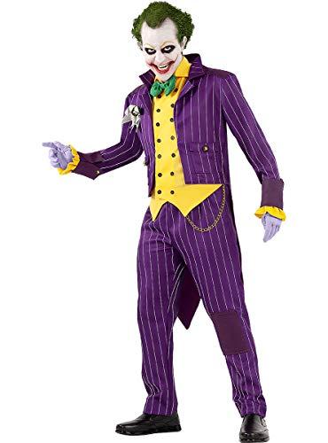 Funidelia | Disfraz de Joker - Arkham City Oficial para Hombre Talla M ▶ Superhéroes, DC Comics, Villanos - Color: Morado - Licencia: 100% Oficial - Divertidos Disfraces y complementos