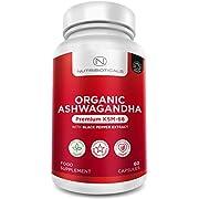 Organic Ashwagandha KSM-66 Vegan with Organic Black Pepper | Certified Organic by Soil Association | Ayurveda Formula Known as Withania Somnifera | Made in UK by Nutribioticals | 60 Capsules