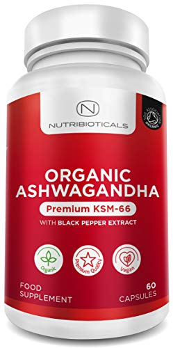 Organische Ashwagandha KSM-66 Vegan met Organische Zwarte Peper | Gecertificeerd Organisch door Soil Association | Ayurveda Formule Bekend als Withania Somnifera | Gemaakt in UK door Nutribioticals | 60 capsules