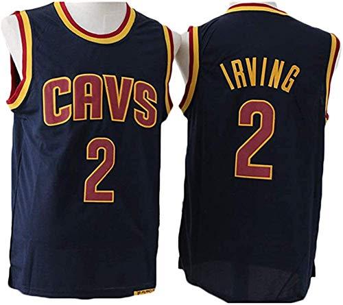 CCKWX Uomo Pallacanestro Jersey -Cleveland Cavaliers 2# Irving Swingman Jersey, Pallacanestro Swingman Jersey Sportivo, Unisex T-Shirt Senza Maniche,Nero,S:170cm/50~65kg