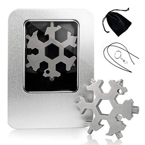 18 in 1 Edelstahl Stell Multi-Tool, Schneeflocke Multi-Tool Screwsdriver Dosenöffner Anti-verlorene Schlüsselanhänger (Silber mit Geschenkbox)
