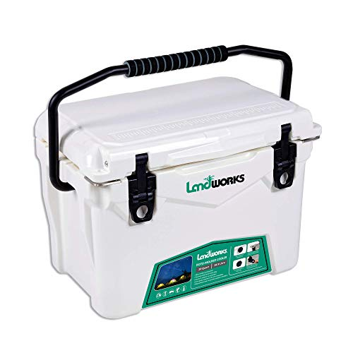 Landworks Rotomolded ENHANCED Ice Cooler 20QT 5-10 Day Ice Retention Commercial Grade Food Safe Dry Ice Compatible UV Protection 15mm Gasket Bottle Openers Vacuum Release Valve Slim Latches (Renewed)