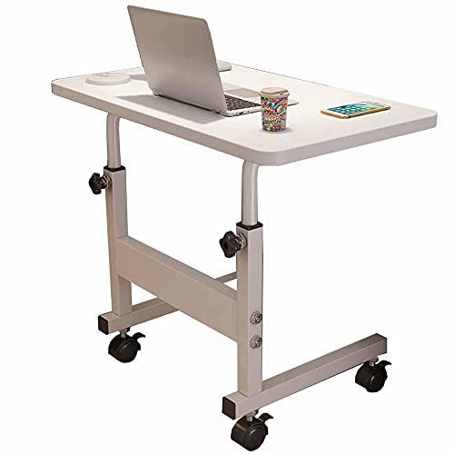 LJFYXZ Mesa de Ordenador Mesa para portátil Altura Ajustable 60 x 40 cm Escritorio de pie Móvil Portátil Mesa Auxiliar de Lectura de Madera(Color:Blanco)
