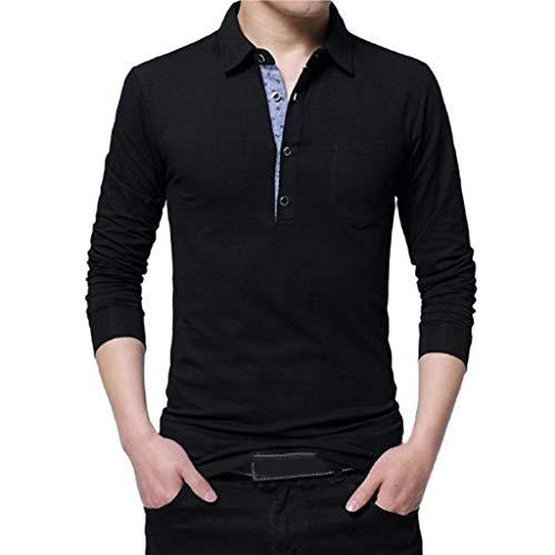 AIni Herren FrüHjahr Beiläufiges 2019 Neuer Lange Ärmelumfangd Revers Button Baumwolle T-Shirt Tops Bluse Warm Jacke Coat Mäntel 2019 Neuheit(XXXL,Schwarz)