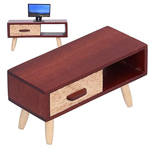 Gabinete de Madera de la TV de la casa de muñecas, Caja Fuerte del gabinete de la TV en Miniatura de la casa de muñecas para los niños