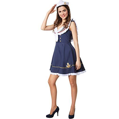 dressforfun 900504 Damenkostüm Matrosenbraut, Weibliches Matrosen-Outfit in Blau und Weiß (M| Nr. 302438)