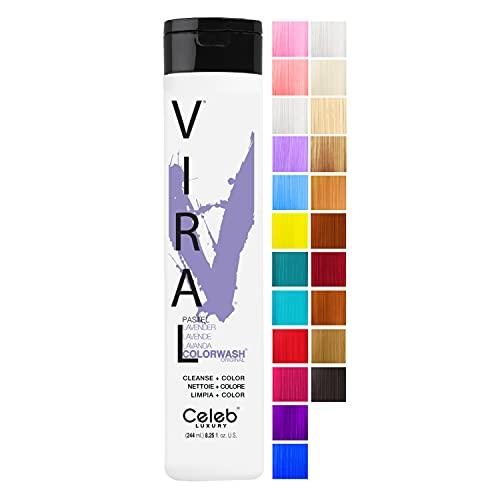 Celeb Luxury Viral Colorwash, Professional Semi-Permanent Hair Color Depositing Shampoo, Pastel Lavender