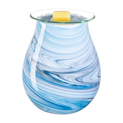 SUNPIN Glass Candle Warmer,Electric Wax Warmer for Scented Wax,Fragrance Night Light Aroma Decor for Bedroom Living Room Kitchen (Sky Blue)