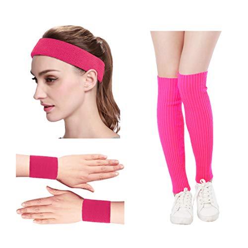 Kimberly's Knit Women 80s Neon Pink Running Headband Wristbands Leg Warmers Set (Free, Hotpink)