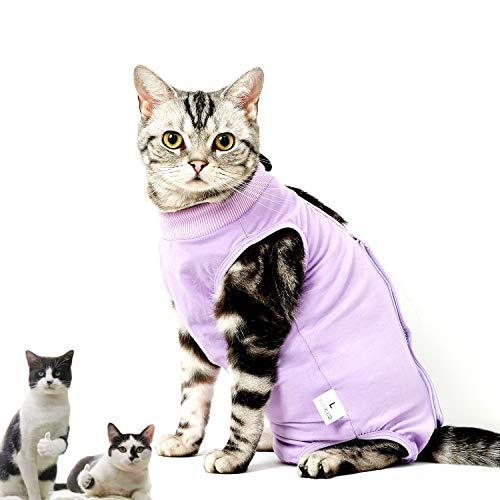 CandyCare Tuta da Recupero per Gatti Post Operazione Sterilizzazione Recovery Suit Cat Impedire Leccare (Consigliato dal Medico), con Campanellino e DIY Numero di Cellulare