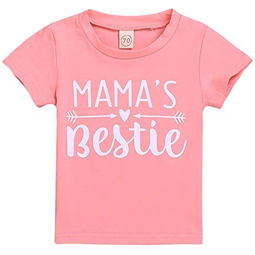Mama's Bestie Mama's Boy T-Shirt Baby Toddler Girls Boys Kids Tee Tops (12-18 Months, Mama's Bestie)