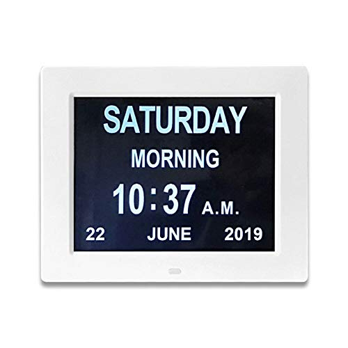 Suading 8 Pulgadas LED Hora Semana Fecha Calendario Despertador Digital para Personas Mayores con Remoto Enchufe de la EU