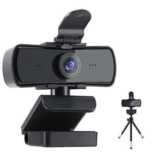 Cámara Web con micrófono, 2K HD 1440P Cámara Web de transmisión con Cubierta de privacidad y trípode USB Plug and Play para PC Portátil para videoconferencias Grabación Soporta conferencias