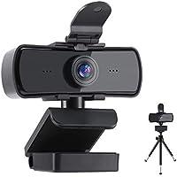 Webcam met microfoon, 2K HD-streamingwebcam met privacyafdekking en statief USB Plug and Play voor pc Laptop voor...