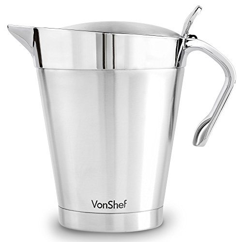 VonShef Stainless Steel 34oz Gravy Boat and Sauce Jug with Hinged Lid, Double Wall Insulated, Large 34 Fluid Ounces Capacity