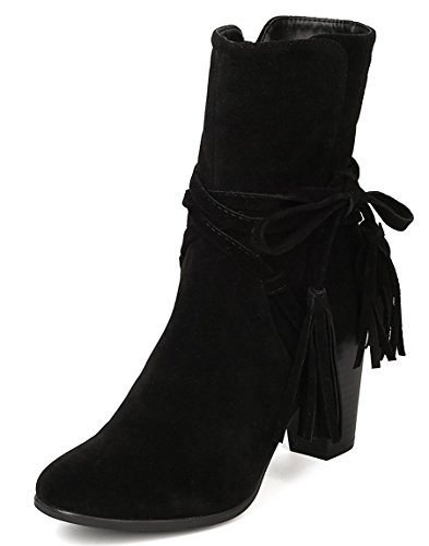 Breckelle's Women's Wrap Around Western Tassel Chunky Stacked Heel Ankle Bootie,7.5 B(M) US,Black