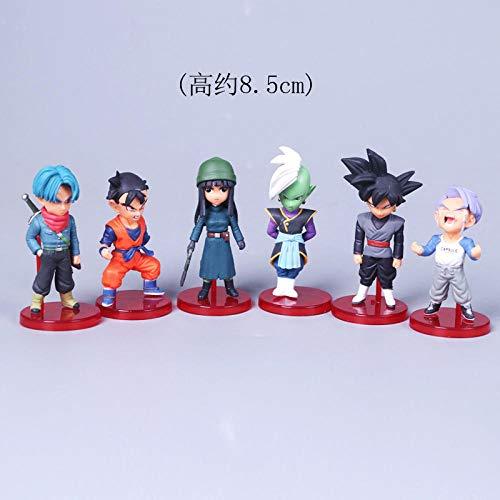 RGERG Action-figuren speelgoed Non-toets Fun God en God 802.11 Zwembroek Zwart haar Goku 6 Q Edition Dragon Ball met doos 6 stuks, 8,5 cm hoog