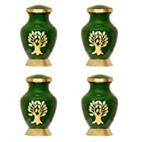 Simcs Handicrafts Set of 4 Piece Green Tree of Life Small Keepsake Cremation Urns for Human Ashes Adult Miniature Funeral Urn for Token Ashes with Velvet Bag