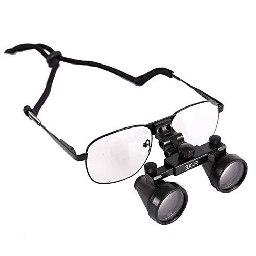 Magnifier Occhiali Binoculari Chirurgici Odontoiatrici 3x420mm con Montatura in Metallo Vetro Ottico Fauay