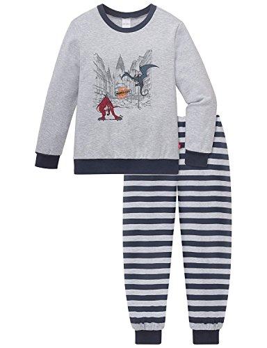 Schiesser Jungen NICI Kn lang Zweiteiliger Schlafanzug, Grau (grau-mel. 202), 116