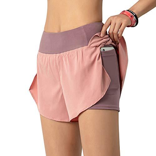 Lixada Mujeres Pantalones Cortos para Correr 2 en 1 con Bolsillo Cintura Ancha Capa de Cobertura Forro de Compresión Descansando Deporte Yoga Leggings Fitness Entrenamiento Athletic Gym