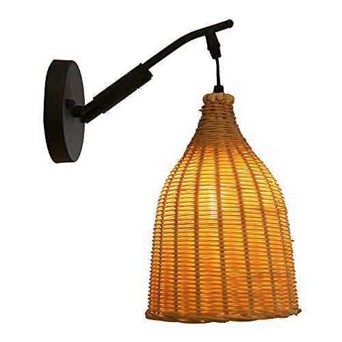 AZPINGPAN Lámpara de Pared de Hierro de ratán, Hostel Bar Tema Restaurante Iluminación Ambiental, Restaurante Dormitorio Estudio Pasillo Apliques de Pared Decoración del hogar Luminaria