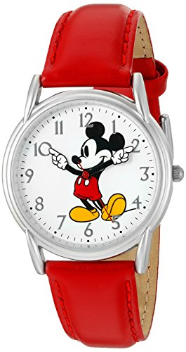 Disney Women's 'Mickey Mouse' Quartz Metal Watch, Color:Red (Model: W002753)